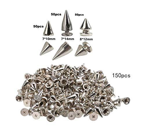 Anyasen ziernieten 150 Stück killernieten spitznieten Nieten Silber Schraubennieten Nieten zum Schrauben für Schuh Tasche Kleidung