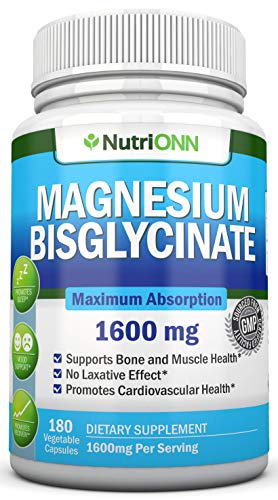 Magnesium Bisglycinate - 1600 mg - 180 Vegan Capsules - Maximum Absorption - Chelate Vegan Supplement - High Bioavailability Pills - Great for Sleep, Anxiety, Heart Health, Muscle Cramps and Bones