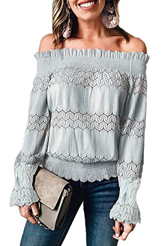 Reukree Mujeres Sexy Casual Fuera del Hombro Blusa Elegante Fuera del Hombro Ocio Encaje Crochet...