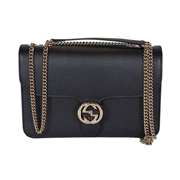 Fashion Shopping Gucci Women's Black Leather 510304 Interlocking GG Crossbody Purse Handbag