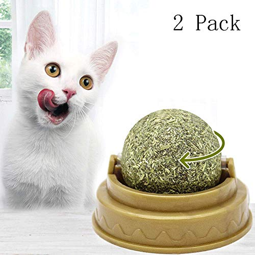 BOLLAER Catnip Ball, 2 Pack Catnip Balls, Pure Natural Mint Leaf Rotating Interactive Cat Toys, Cat Removal Hairball Toys Can Be Sticky On Wall, Teeth Cleaning Catmint Toy for Cat