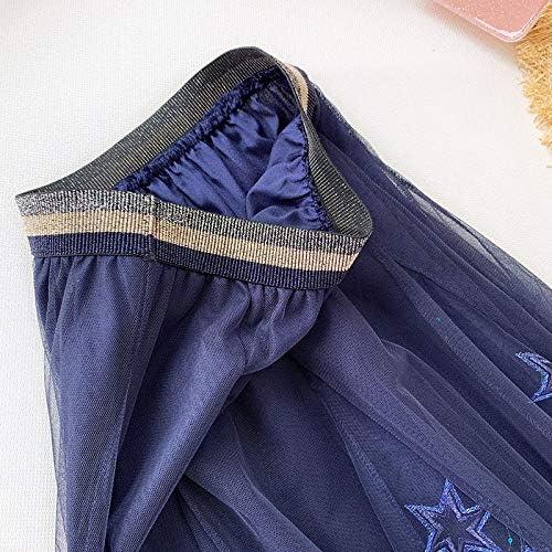 XGDLYQ Blue Sequined Tulle Rokken Vrouwen Nieuwe Zoete Elastische Hoge Taille A-lijn Rok Vrouwelijke Sterren Gedrukt Lange Rokken Blauw