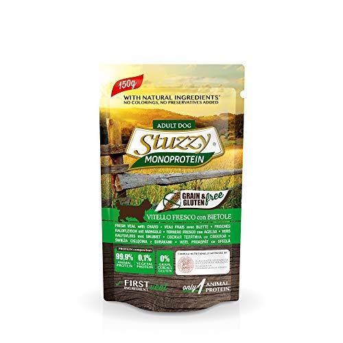 Stuzzy, Monoprotein Grain & Gluten Free, Comida húmeda para Perros Adultos, Sabor Carne de Ternera Fresca con Remolacha, en paté - Total 1,8 kg (12 Sobres x 150 gr)