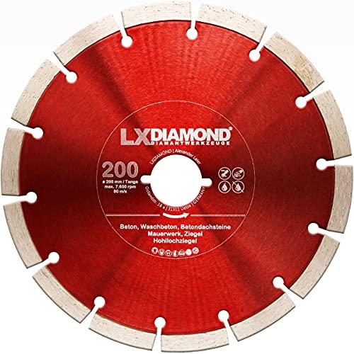 LXDIAMOND Disco de corte de diamante de 200 mm para hormigón, mampostería, ladrillo, piedra, universal, compatible con Lamello Tanga DX200, fresadora de montaje, 200 mm en calidad profesional
