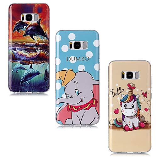 QC-EMART 3 Coques pour Samsung Galaxy S8 Motifs Imprimé, Samsung S8 Coque Silicone Transparente Ultra Fine Souple Anti Choc Etui de Protection Gris Elephant Licorne Rose Dauphin Bleu