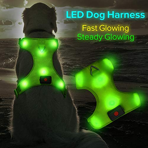 Higo LED Dog Harness, USB Rechargeable Soft Mesh Harness No Pull Lighted Safety Collar, Increased Visibility&Safety for Small Medium Large Dog(S, Green)