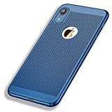 Generic iPhone XR Case, Ultra-Thin Bumper Hard PC Shockproof Anti-Scratch Sweatproof case [Breathable] Mesh Hole Heat Dissipating, iPhone XR, Blue