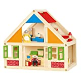 VIGA - Casa delle Bambole in Legno, con 24 Elementi di Arredamento