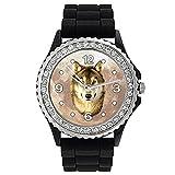 Timest - Lobo Reloj de Silicona Negro para Mujer con piedrecillas Analógico Cuarzo CSG067