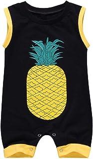 snowvirtuosau Summer Sleeveless Newborn Baby Rompers Cute Pineapple Print Jumpsuit