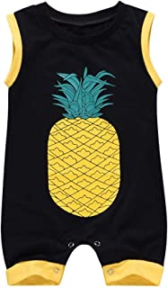 snowvirtuosau Summer Sleeveless Newborn Baby Rompers Cute Pineapple Print Jumpsuit