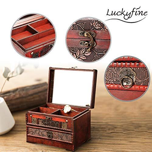 Luckyfine Schmuckkästchen, Kleine Vintage Schmuckschatulle Aufbewahrungsbox aus Holz, Make-up-Box mit Spiegel, geeignet für den persönlichen Gebrauch und Geschenke