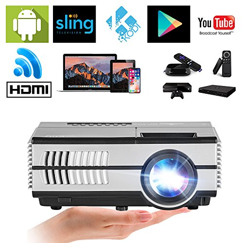 LED Projector LCD Display Home Theater Cinema Movies Video Games Indoor Outdoor, HDMI USB VGA Support 1080P 720P- for TV PC Laptop Smartphone DVD (LED Mini WiFi Projector,1500 Lumen)