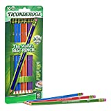 TICONDEROGA Pencils, Wood-Cased Graphite, #2 HB Soft, Pre-Sharpened, Assorted Color Barrels, Black Lead, 10-Pack (13932)