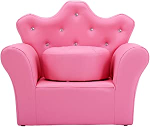 HONEY JOY Kids Sofa, Upholstered Armchair with Ottoman, PVC Leather with Embedded Crystal, Wood Frame, Perfect for Girls (Pink/Sofa with Ottoman)