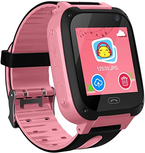 Kids Smart Watch Phone smartwatches for Children with GPS Tracker sim Card Anti-Lost sos Call Boys and Girls Birthday Compatible Android iOS Touch Screen Voice Chat Remote Camera-Pink