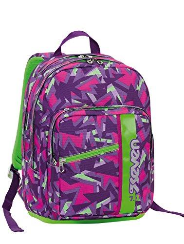 Zaino scuola Outside SEVEN - TAG GIRL - Rosa verde - 33 LT - inserti rifrangenti