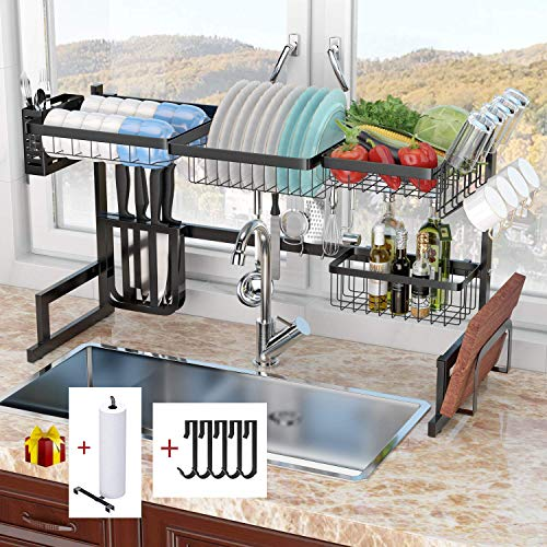 ADBIU Over The Sink Dish Drying Rack (32''≤ Sink Size ≤ 41 Kitchen Dish Rack and Drainboard Set Stainless Steel Storage Rack (Black, Expandable Length)