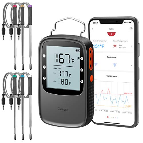 Govee Bluetooth Meat Thermometer, Smart Grill Thermometer, 196ft Remote Monitor, Large Backlite...