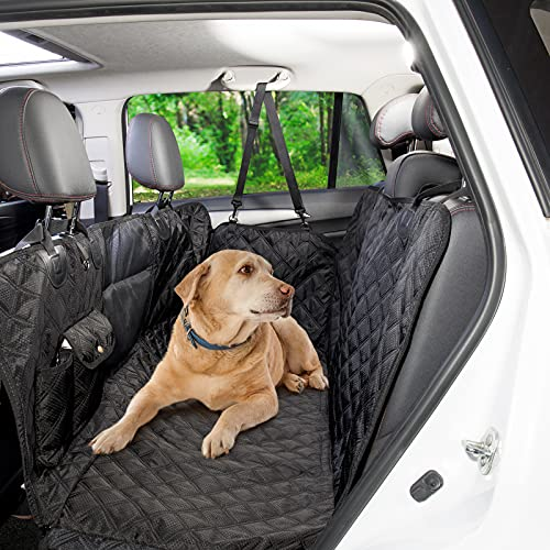 voopet Dog Car Seat Cover 100% Waterproof Dog Back Seat Cover Protector Easy to Clean, Scratchproof Dog Hammock for Car with Mesh Window and 2 Pockets Suit for Cars SUVs and Trucks(2pcs