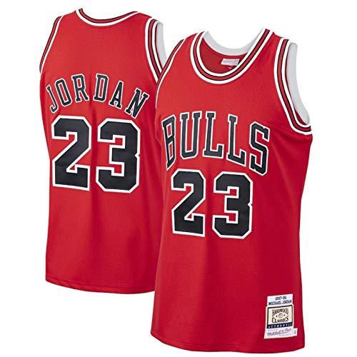 WJP Camiseta De Baloncesto para Hombre Michael Jordan 23# Chicago Bulls Sudadera Bordada Resistente Al Desgaste Transpirable Camiseta + Pantalones Cortos Red-S(170~175CM)