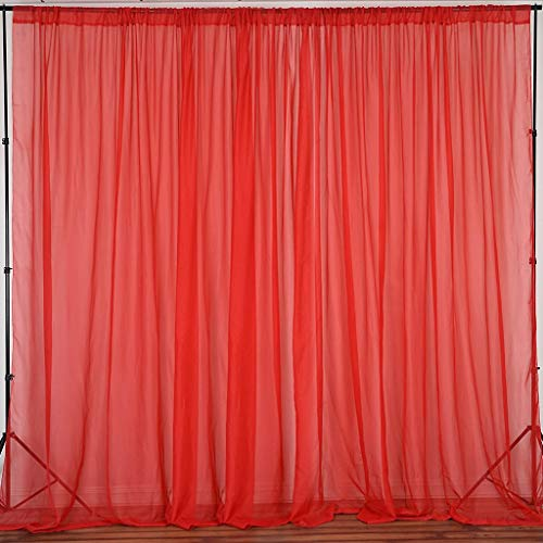 Tableclothsfactory 10FT Premium Fire Retardant Red Sheer Voil Curtain Panel Backdrop - Premium Collection