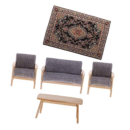 perfeclan 1/12 Casa de Muñecas Miniaturas Muebles de Habitación Sofá Doble Banco Silla de Té