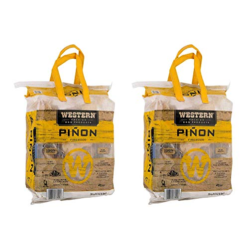 WESTERN BBQ Pinon Mini Log Wood Pellet Firewood for Camp Fires & Fireplaces (2 Pack)