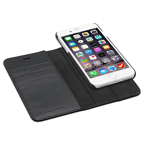 KANVASA iPhone SE 2020 Hülle/iPhone 8 / iPhone 7 Ledertasche 2 in 1 Lederhülle Schwarz Echtleder Hülle Leder Tasche Flip Cover für Original Apple iPhone SE 2020/8 / 7 Wallet Hülle