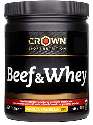 Crown Sport Nutrition Beef & Whey Proteina della Carne e siero del Latte, Supplemento per aumentare massa muscolare, Flavor Vaniglia - 486 gr