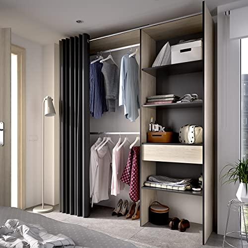 Vestidor con 1 cajón y Cortina Suite 160-110 cm Natural - Grafito