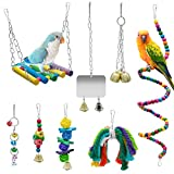 WBYJ 8 Pack Birds Parrot Toys, Parrots Swing Hanging Chewing with Bells Toys Climbing Ladders Hand Made Bird Cage Toys for Love Birds Finches Small Parrots Parakeets Cockatiels Conures Macaws