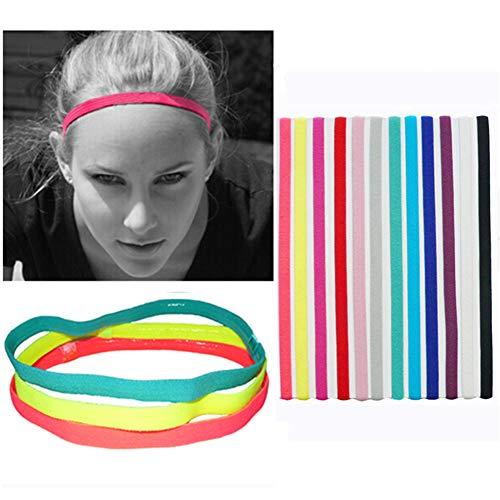 12 Stück Sport-Stirnbänder Slim Haarband, elastisch, rutschfest, dünne dünne dünne Bänder mit Silikon gefüttertes Schweißband für Damen und Herren, Stirnband für Leichtathletik, Yoga, Golf, Laufen