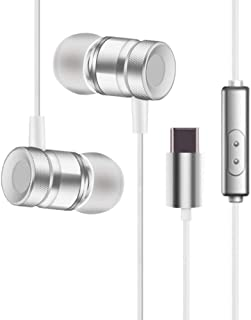 Stereo Headphones for USB Leeco Type-c Earphone with Mic Type C Earphones for Xiaomi Huawei Smartphone,White,Italy