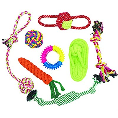 Dog Toys, WeFine 8pcs Dog Puppy Chew Toys Rope Toys for Small and Medium Dog Puppy Tooth Cleaning Traning Toys Sets