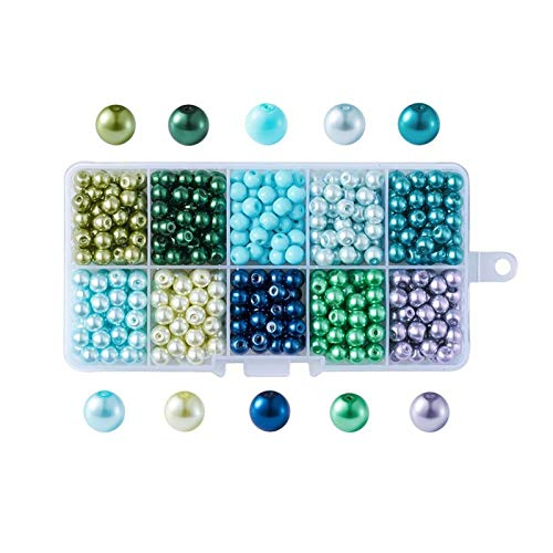 Mixed Color Round Glass Pearl Beads for Necklaces Earrings Bracelets Jewelry Making DIY Accessories Pearlized 4mm 6mm 8mm 10mm (Color : Green, Item Diameter : 10mm)