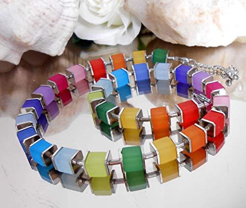 Würfelkette - Collier regenbogen bunt matt - Edelstahl Verschluß - Halskette / A209