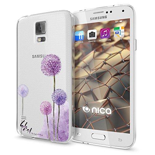 NALIA Custodia compatibile con Samsung Galaxy S5 S5 Neo, Cover Protezione Silicone Trasparente Sottile Case, Gomma Morbido Ultra-Slim Protettiva Telefono Bumper Guscio, Designs:Dandelion Pink Rosa