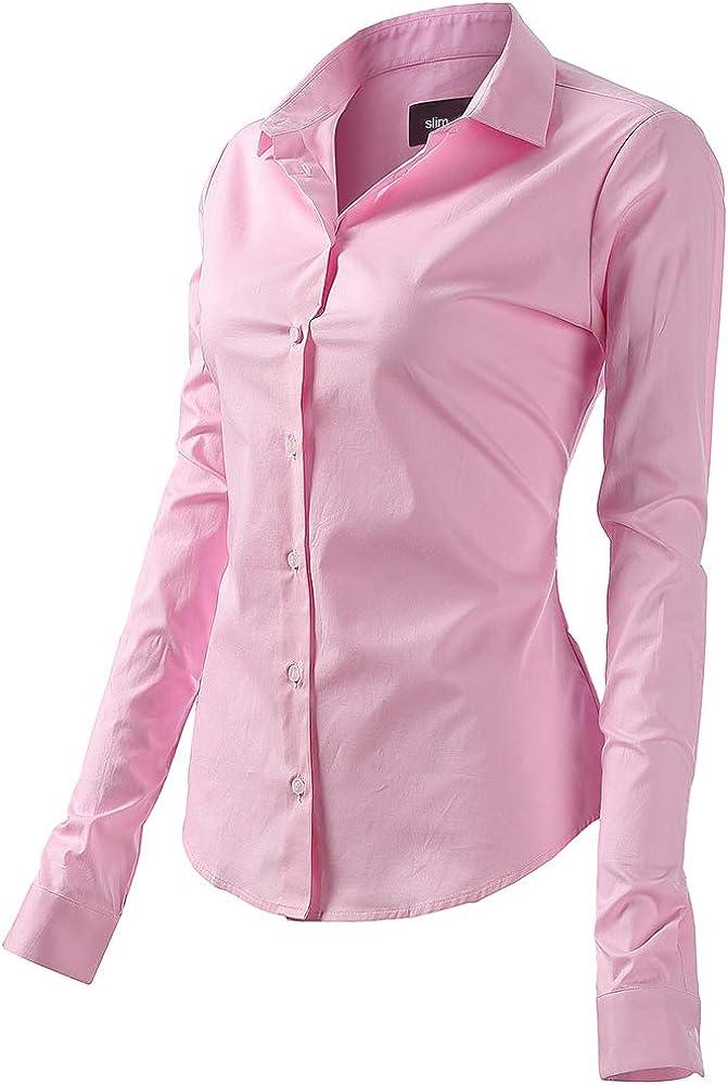 fly hawk camicia da donna a maniche lunghe 97% cotone 3% poliestere camicetta casual rosa
