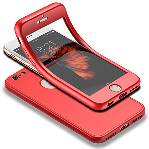 HICASER iPhone 6s 360 Gradi Custodia + Pellicola Vetro Temperato Full Body Ultra Sottile Morbido TPU Antiscivolo Protettiva Case per iPhone 6 / iPhone 6s 4.7' Rosso
