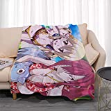 Nsddm Fairy Tail Series Lucy Heartfilia and Erza Scarlet Bikini Dress Pattern/Anime Character Blanket/Single-Sided Printing/Cartoon Bedroom Cartoon Blanket/Office NAP Blanket/Easy to Carry and Cl