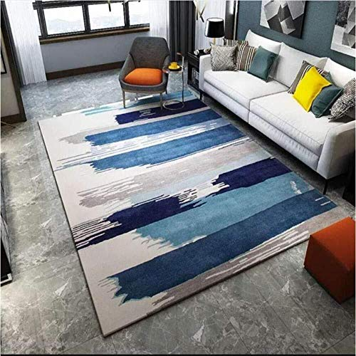Zhao Li Vloerbedekking Tapijt Woonkamer Zachte Touch Ontwerp Thuis Vloermatten Blauw Grijs Gradiënt Abstract Art Wasbaar Anti-slip Slaapkamer Tapijten