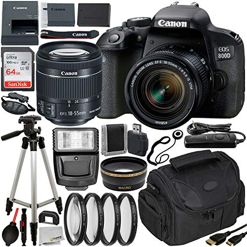 Canon EOS Rebel 800D (T7i) DSLR Camera w/ 18-55mm Lens, Essential Accessory Bundle – Includes: SanDisk Ultra 64GB SDXC Memory Card, Digital Slave Flash, Professional Camera Bag & More