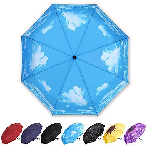 YumSur Paraguas Plegables Automático Antiviento, Paragua de Bolsillo compacta y Ligera, Paraguas automático de Viaje para Mujer Hombre, Azul Cielo Diseño