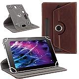 NAUC Tasche Hülle für Medion Lifetab S10321 Schutzhülle Tablet Cover Case Bag, Modellauswahl:Braun 360° mit Univ. Kameraausschnitt