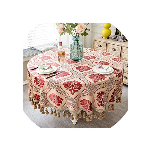 Tablecloth with Tassel for Wedding Birthday Party Round Table Cover Desk Cloth for Home Decor,4,260x260cm Round