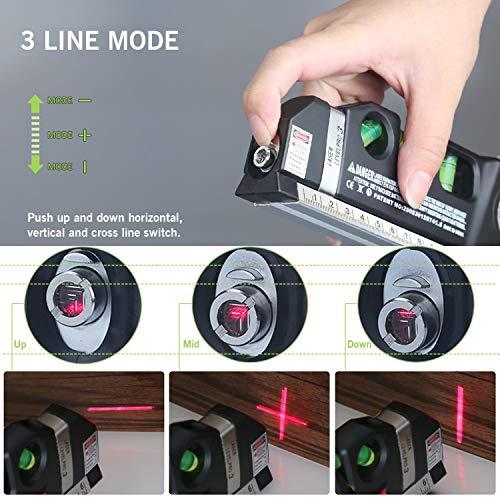 Qooltek Multipurpose Laser Level Laser Line 8 feet Measure Tape Ruler Adjusted Standard and Metric Rulers