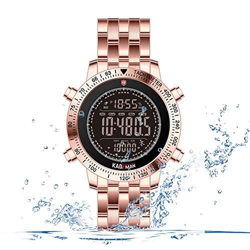 F-XDD Mechanische Uhr, Männer Multi-Funktions-Sport-Uhr Herren Outdoor Multifunktions-Wecker leuchtende wasserdicht Sport-Uhr Ideal für Geschäftsleute,Rosegold