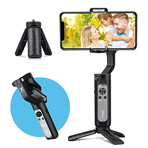 3-Axis Gimbal Stabilizer for Smartphone, Foldbale Phone Gimbal Handheld Stabilizer Video Vlog Youtuber Live Record for iPhone Android Phones, Ultra-Light Weighted w/Auto Inception Dolly Zoom(Black)