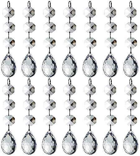 HOHIYA Acrylic Crystal Ornaments Christmas Tree Dangle Drop Ball Chandelier Prisms Clear 30pcs